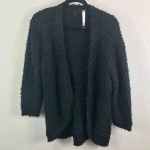 Kensie Black fuzzy eyelash teddy cardigan sweater